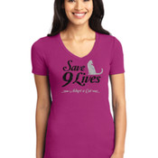 Glitter Save 9 Lives V-neck Ladies T-shirt