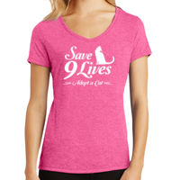 Save 9 Lives Ladies V-Neck Tri-Blend T-shirt Thumbnail