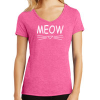 MEOW Ladies V-Neck Tri-Blend T-shirt Thumbnail