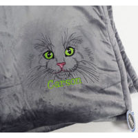 Embroidered Cat Fleece Blanket with Name Thumbnail