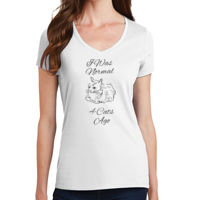 I Was Normal 4 Cats Ago Ladies V-neck T-shirt Thumbnail